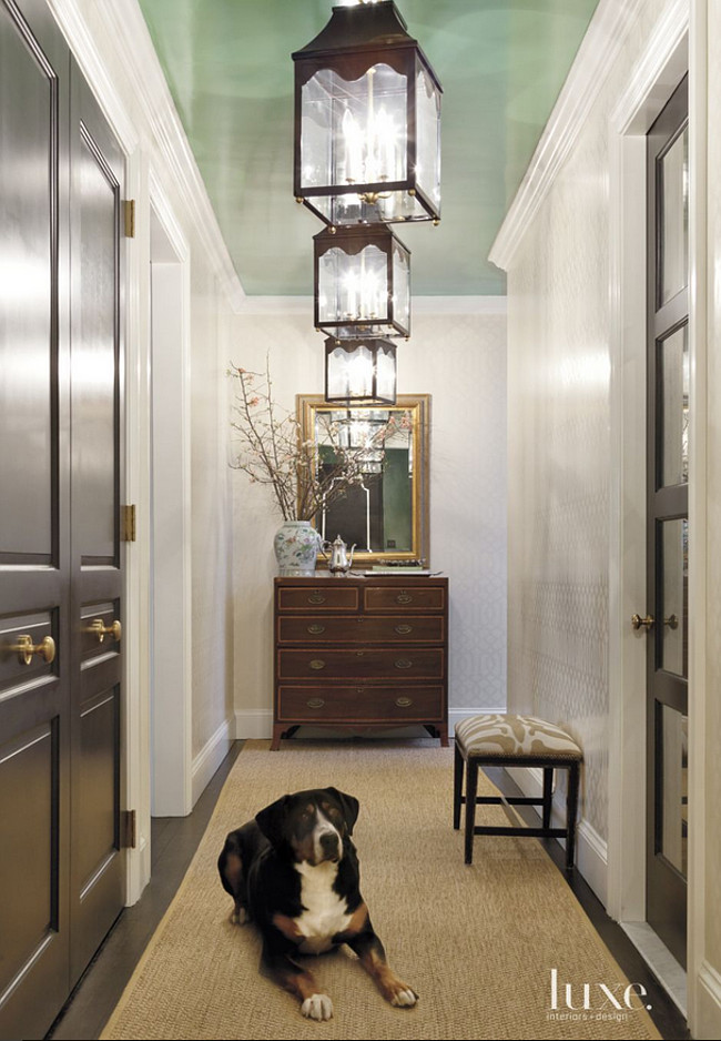 Green Ceiling. Painted green ceiling. The green ceiling paint color is Benjamin Moore's Parsley Snips. #BenjaminMooreParsleySnips Jenny Wolf Interiors.