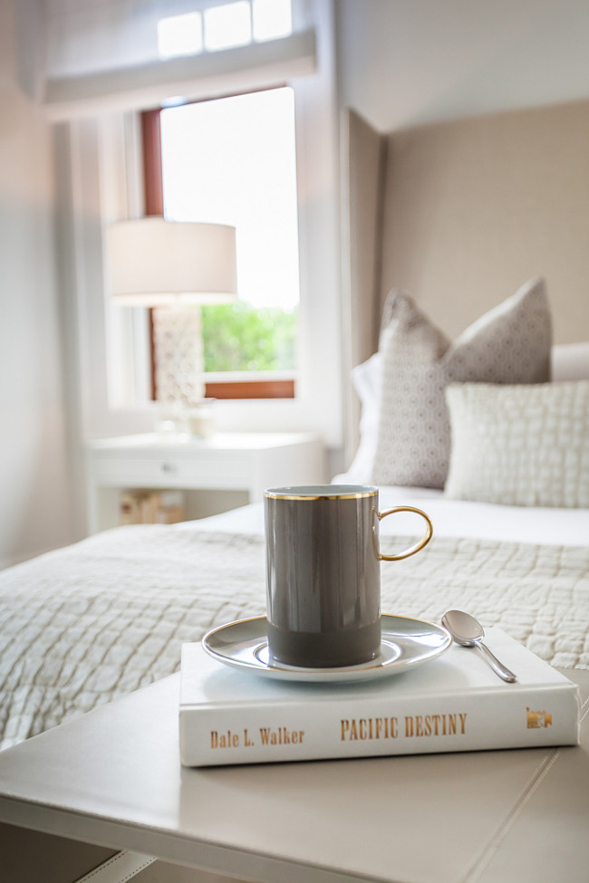 Greige Bedroom. Morning coffee in bed. #greige #Bedroom Sofia Joelsson.