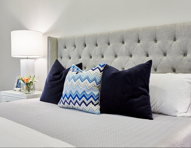 Grey bedroom bed pillow ideas. Grey bedroom pillow combination ideas. Butter Lutz Interiors, LLC.