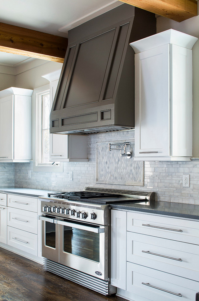 Grey kitchen hood. White kitchen cabinet with grey hood. Vikki Werbalowsky from La Bella Vie.