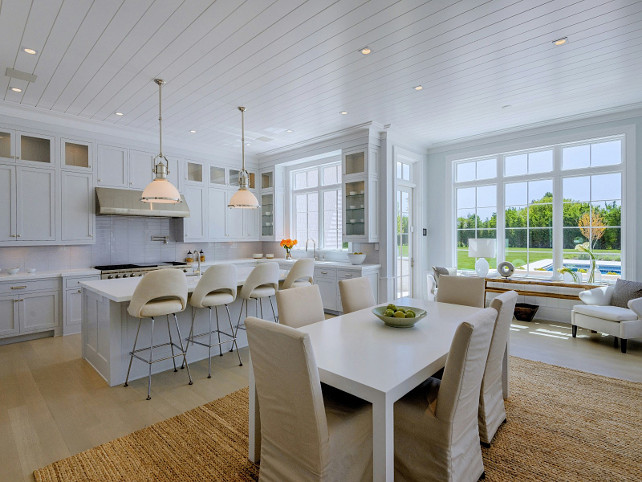 Hamptons Kitchen. White Hamptons Kitchen. Hamptons Kitchen with plank ceiling. Hamptons Kitchen Ideas. Hamptons Kitchen Design. #HamptonsKitchen Sotheby's Homes.