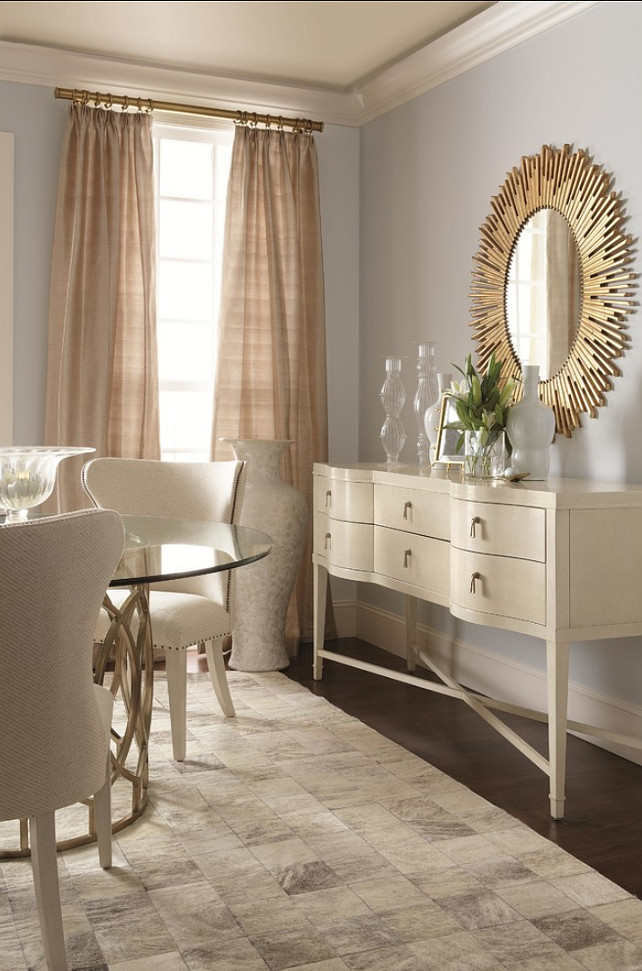Tailored Dining Room. Home Decor Ideas. Sunburst Oval Mirror by Bernhardt.