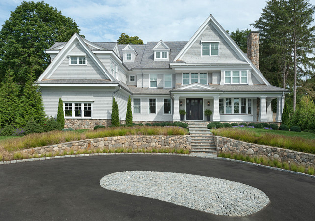 Home Exterior Ideas. Shingle Home Exterior Ideas. Classic Nantucket Shingle Style with the clean lines and modern finishes. #HomeExterior #ShingleHome Blue Water Home Builders.