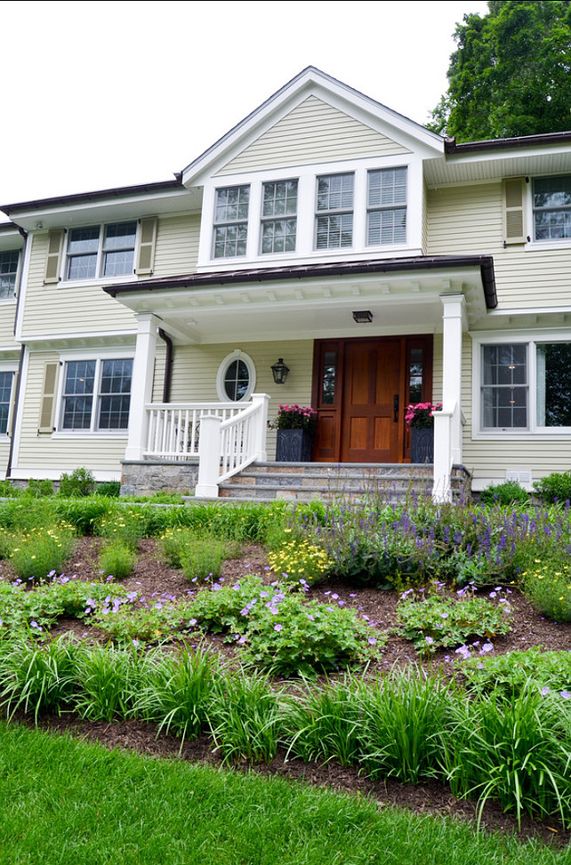 Home Exterior Paint Color Ideas. Home Exterior Paint Color Combination. Benjamin Moore Abingdon Putty. Trim Paint Color is Benjamin Moore Acadia White. Shutter Paint Color is Benjamin Moore Providence Olive HC-98   #ExteriorPaintColorCombination