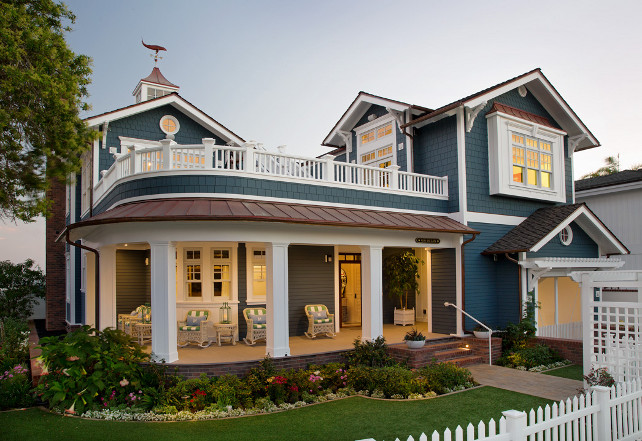 Home Exterior Paint Color Ideas. The shake siding is Pacific Blue by Allura. #HomeExterior #PaintColor Flagg Coastal Homes