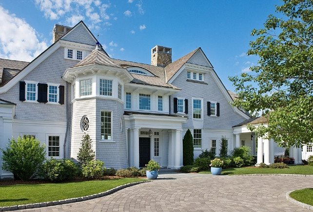 Home Exterior Paint Color. Shingle Exterior Paint Color. The siding color is Driftwood Gray by Cabot Stains and the trim color is Sherwin Williams Duration White. Catalano Architects.