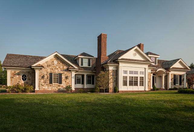 Stone Home Exterior Design. Traditional Stone Colonial Home.  #StoneExteriorHome #
