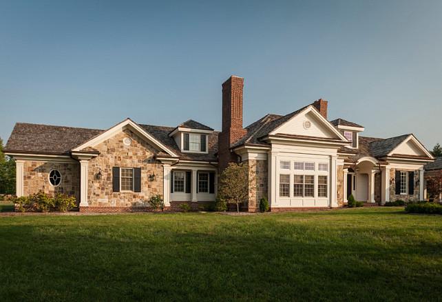 Home Exterior. Stone Home Exterior Design. Traditional Stone Colonial Home. #StoneExteriorHome #StoneColonialExterior #TraditionalStoneHomeExterior Tabberson Architects.