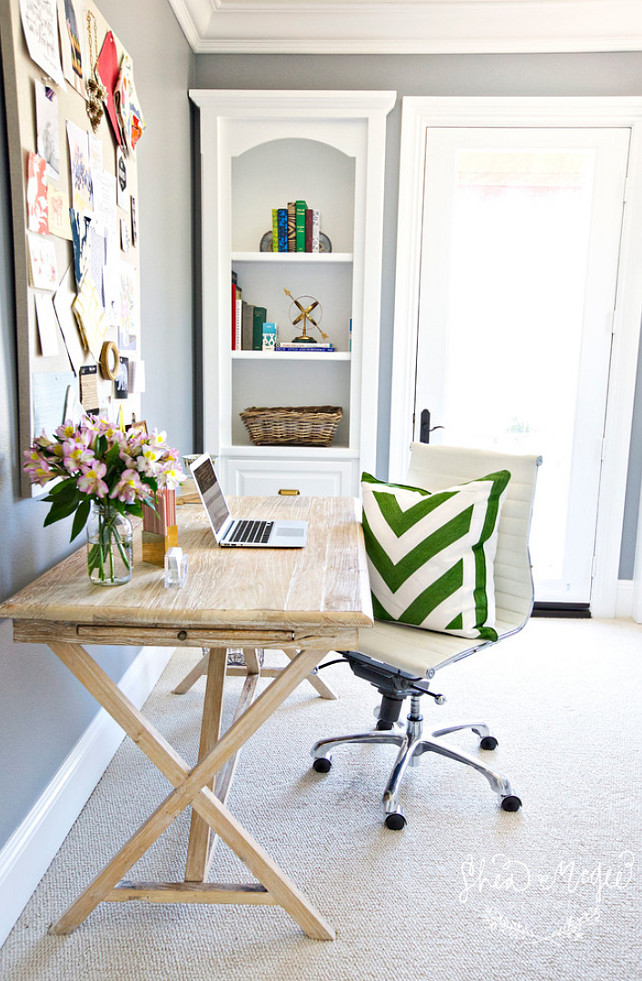 Home Office Desk. #HomeOfficeDesk White Washed Desk Studio McGee.