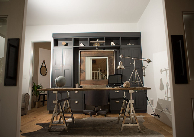 Home Office. Charcoal Cabinet. Home Office with Charcoal Gray Cabinets. #CharcoalGray #Charcoal #Cabinet #HomeOffice Hahn Builders.