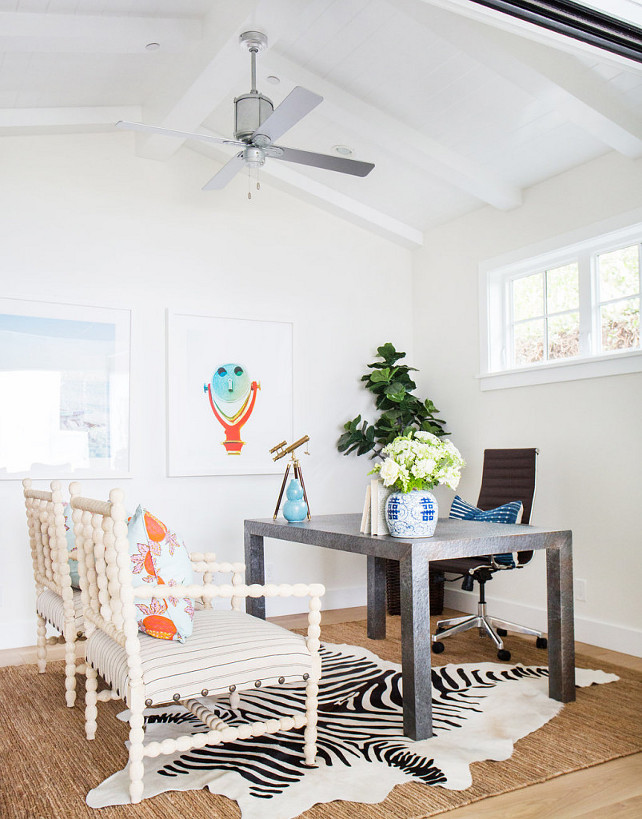 Home Office. Home Office Ideas. Home Office with cathedral ceilingsm white walls and spindle chairs. #Homeoffice