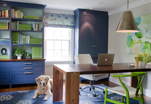 Home Office. Home Office with navy cabinets. #HomeOffice #Navy #paintColor #Cabinet Kristina Crestin Design.