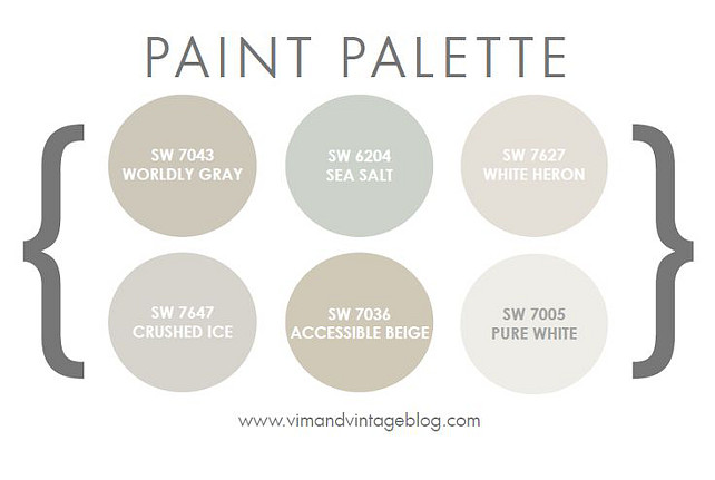 Home Paint Color Palette. Home Paint Color Palette.  Sherwin Williams SW 7043 Wordly Gray. Sherwin Williams SW 6204 Sea Salt. Sherwin Williams SW 7627 White Heron. Sherwin Williams SW 7647 Crushed Ice. Sherwin Williams SW 7036 Accessible Beige. Sherwin Williams SW 7005 Pure White. #PaintColorPalette