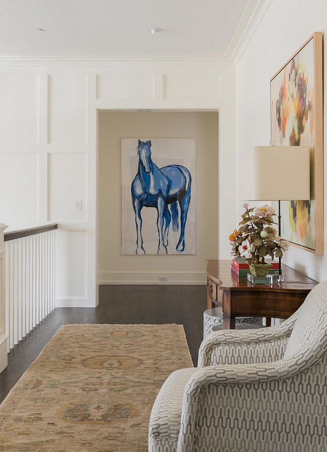 Horse Art. Beautiful interiors with horse art. Horse painting. The horse art is by Melissa Auberty. #Horse #Art #painting L. Lumpkins Architect, Inc.