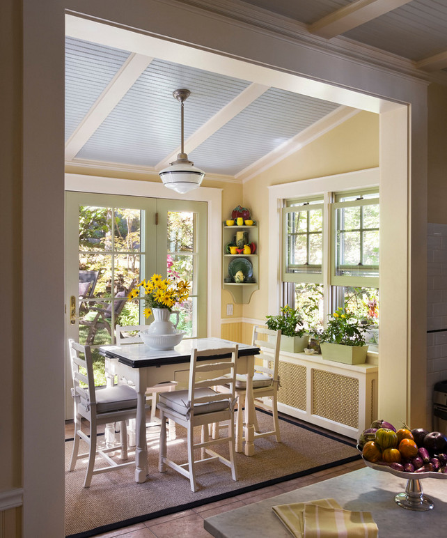 How to hide radiators. How to hide radiators in kitchen breakfast nook. Paint Color: Farrow & Ball Farrow's Cream (upper walls), Farrow & Ball Skylight (ceiling). Gary Brewer Robert A.M. Stern Architects.