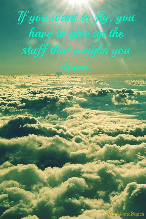 If you want to fly, you have to give up the stuff that weighs you down.