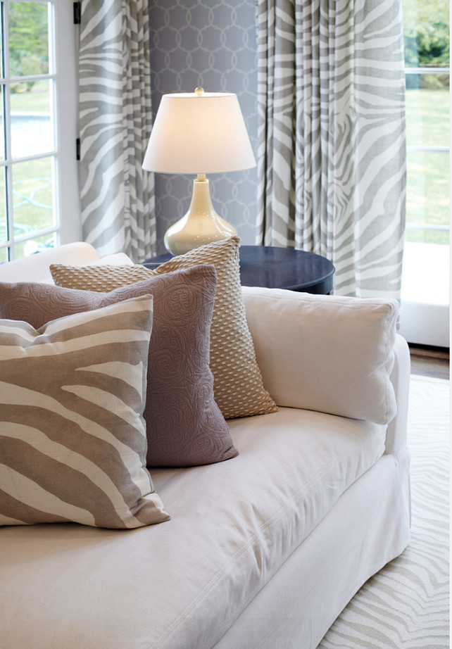 Interior Color Palette Ideas. Closeup of pattern mix in this family room. Neutral, soft color palette. #ColorPalette #Interiors #NeutralInteriors