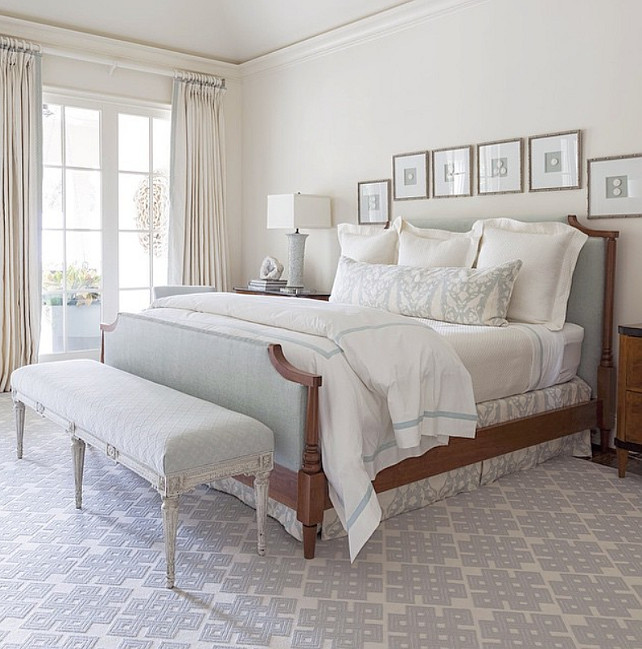 Ivory and Blue Gray Bedroom. Master bedroom with ivory wall paint color and blue gray bedding and decor. #MasterBedroom #Ivory #IvoryPaintColor #IvoryBedroom #BlueGrayBedroom Collins Interiors.