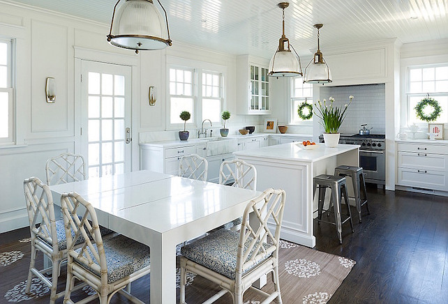 KItchen. Kitchen features a white beadboard ceiling dotted with a pair of Hudson Valley lighting Haverhill Pendants. #Kitchen #KitchenPendants Kimberly Gieske