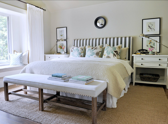 "Bedroom Decor Ideas. Bedroom Design. Bedroom Decor Sources. The bedding in this bedroom is from Restoration Hardware. The 26"" Pillows are custom made with Jellybean fabric from Kravet. Artwork above sidetables are images from a Cavalini and Co calendar. Rug is the Jute Boucle rug in Flax from West Elm. #Bedroom #BedroomDecor #BedroomFurniture #BedroomIdeas #BedroomDecorSource"