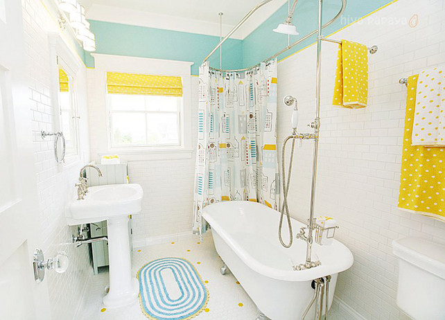 Kids Bathroom. Kids Bathroom Ideas. Kids Bathroom design. Paint Color in this kids bathroom is Benjamin Moore Spirit in the Sky. #KidsBathroom