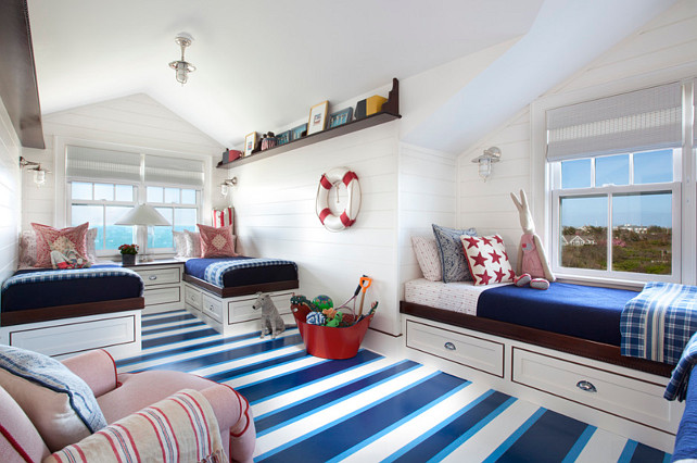 Kids Bedroom Decor Ideas. Kids Coastal Bedroom. Kids Coastal Bedroom with shiplap walls and painted floors. #Kidsbedroom #KidsBedroomIdeas #KidsCoastalbedroom #KidsCoastalbedroomIdeas #ShiplapWalls Jeannie Balsam LLC.