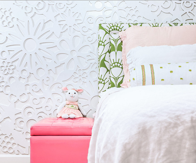 Kids Bedroom Decor Ideas. Wall Treatment are panels cut out of MdF and painted. They come in 39x39 sections. #KidsBedroomIdeas #KidsBedroomDecor