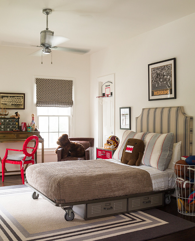 Kids Bedroom with Platform Bed. Kids storage under bed ideas. Kids industrial bedroom with vintage metal lockers tucked under bed. #KidsBedroom #StorageUnderBed Kathryn Ivey Interiors
