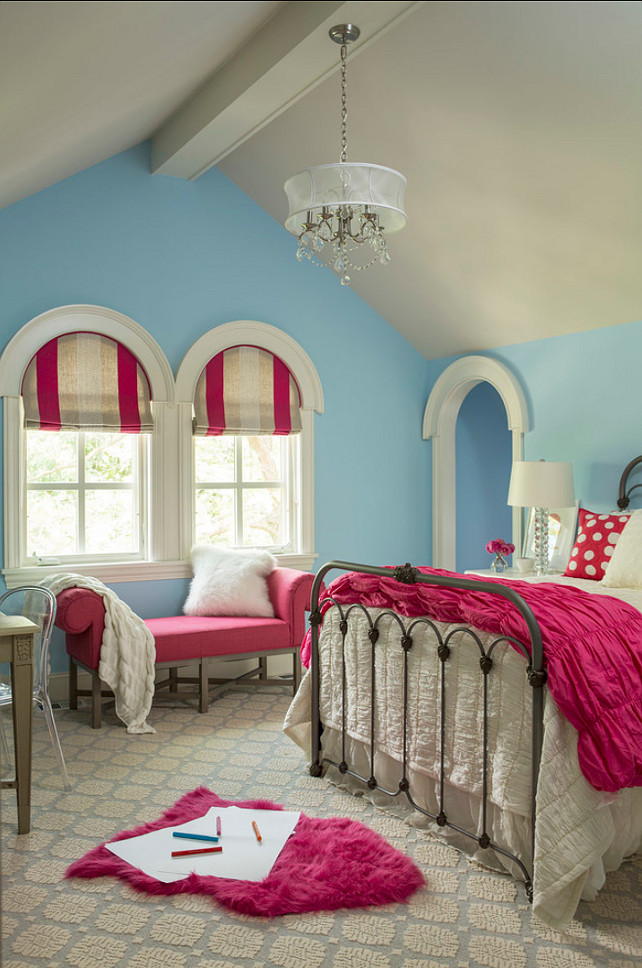 Kids Bedroom. Great kids bedroom design. The carpet is by Stanton Carpet, and the pattern name is called Santa Clara in Arctic. Sherwin-Williams SW 6800 Something Blue #SherwinWilliams #SW6800 #SomethingBlue.