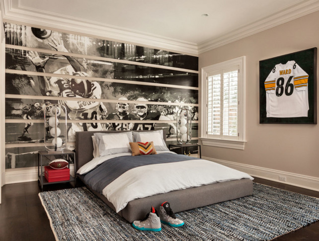 Kids MuralFootball-Themed Bedroom. Bedroom Ideas. Kids Bedroom Mural. #KidsMural #KidsBedroomMural  Garrison Hullinger Interior Design Inc.