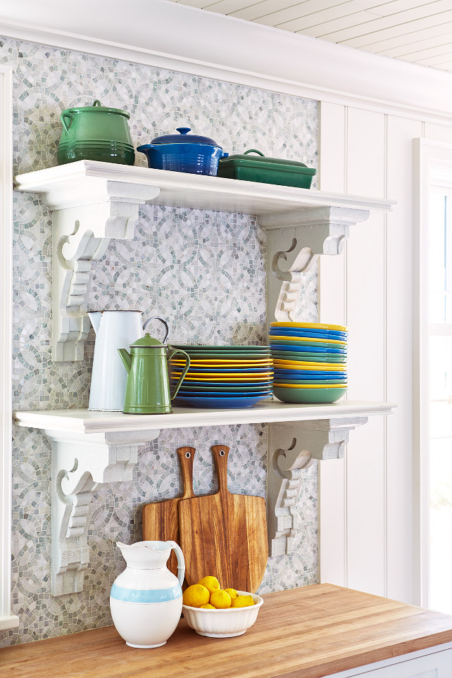Kitchen Backsplash Open Shelves. Kitchen open shelves backsplash design. #Kitchen #OpenShelves #Backsplash Designed by Sarah Richardson.