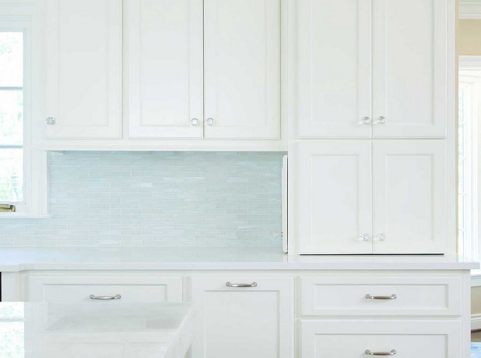 Kitchen Backsplash and glass knobs. Profile Cabinet.