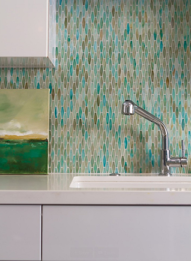 Kitchen Backsplash. Coastal Kitchen Backsplash. Tile backsplash is Luna Bay Tile. Color is Pieces 11. #Backsplash #TileBacksplash #Kitchen #CoastalTiles #CoastalBacksplash Charmean Neithart Interiors, LLC.