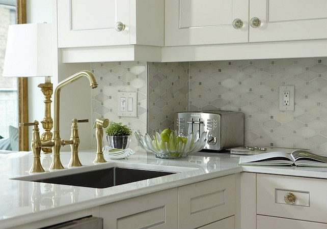 Kitchen Backsplash. Kitchen Backsplash Tiling Ideas. Backsplash Tiles. Kitchen backsplash tiles is Saltillo Imports Marble Mosaics Long Octagon Tile backsplash. #KitchenBacksplash #BacksplashTiles Sarah Richardson Design