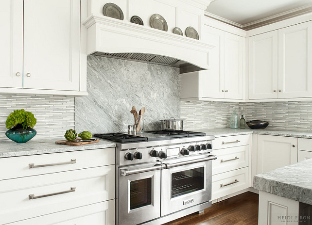 Kitchen Backsplash. Kitchen Slab Backsplash Ideas. Mix of slab stone and tile backsplash. #KitchenBacksplash #KitchenSlabBacksplash Heidi Piron Design.