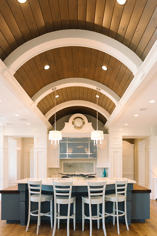 Kitchen Barrel Ceiling. Kitchen Barrel Vaulted Ceiling and planks. Four Chairs Furniture.