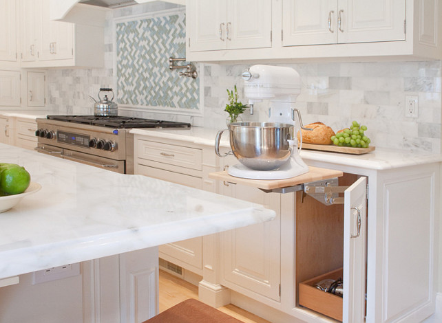 Kitchen Cabinet Ideas. New Kitchen Cabinet Ideas. Kitchen Mixer lift. #Kitchen #KitchenCabinet #NewKitchenCabinet #NewKitchenCabinetIdeas #Mixerlift Countertop is Calcutta Regina Marble. Kitchen Design Concepts
