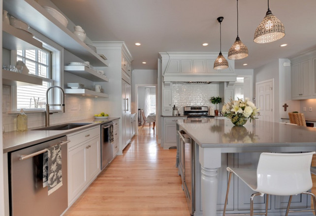 Pale Gray Kitchen Cabinet Layout. #KitchenCabinetLayout Revision LLC.