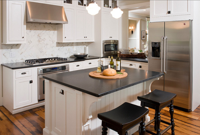 "Offwhite Kitchen Paint Color. Kitchen paint color is ""Sherwin Williams SW 6385 Dover White"". #Kitchen #WhiteKitchen #paintColor #DoverWhite"
