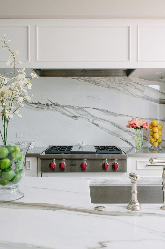 Kitchen Countertop Backsplash Combination Ideas. Kitchen countertop and backsplas marble slab. #Kitchen #Countertop #Backsplash #Marble #slab Jean Stoffer Design.