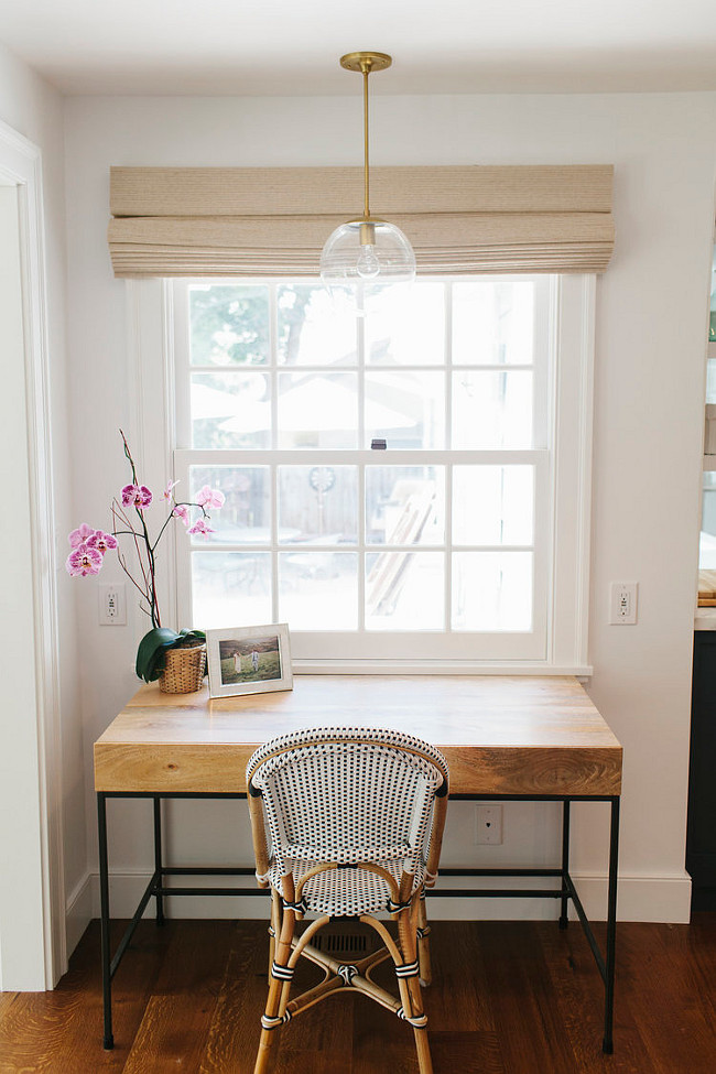"Kitchen Desk Ideas. Desk placed by kitchen for small tasks. Pendant light is similar to ""Mid Century Modern 10"" Globe Pendant Light - Clear Glass Globe - The Orbiter 10 with Brass Stem"" by SanctumLighting. Kitchen computer station. #Kitchen #Desk Shea McGee Design."