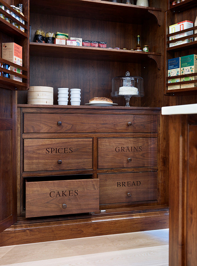 Kitchen Drawer Ideas. American Walnut Kitchen cabinet - Cook's Pantry. Humphrey Munson.