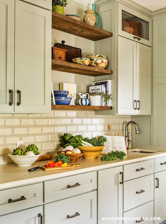 Kitchen Elements. Kitchen Paint Color. Kitchen Cabinet Paint Color. Kitchen with open shelves. Kitchen backsplash. Warm kitchen elements.  Kathryn LeMaster, At Home in Arkansas via House of Turquoise