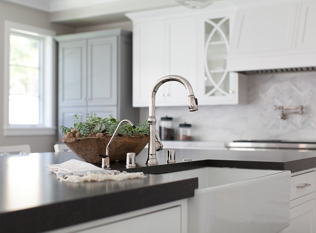 Kitchen Faucet. Kitchen Island Faucet Ideas. Kitchen island with apron sink and faucet by Kohler. #Kitchen #Faucet #ApronSink #KohlerFaucet Brooke Wagner Design.