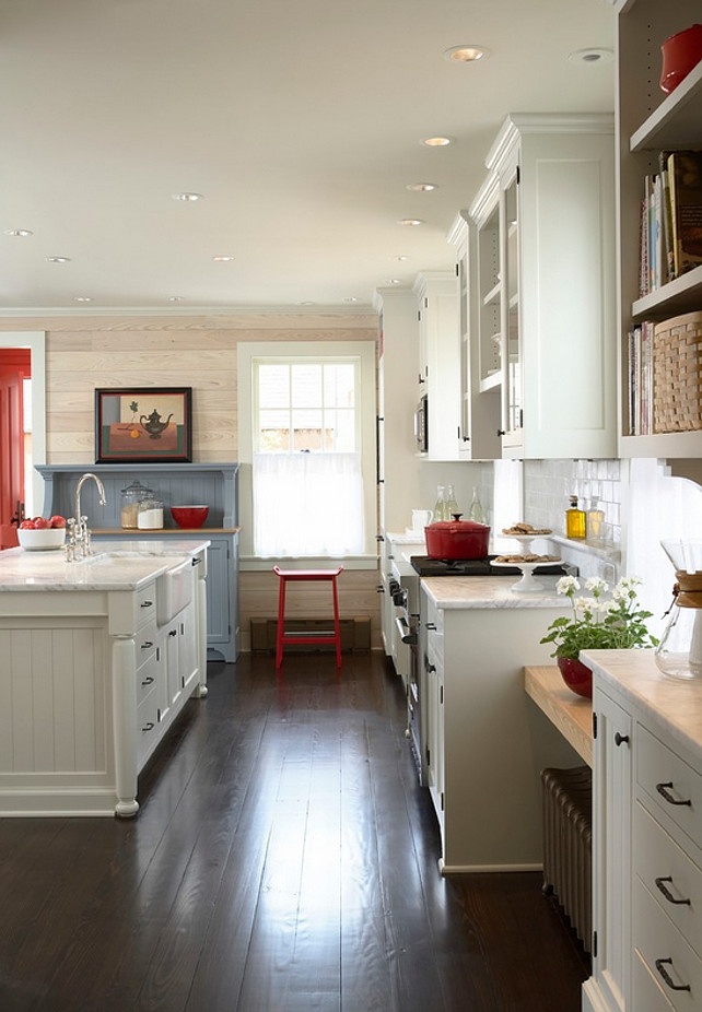 Kitchen Hardwood Floor. Kitchen Hardwood Floor Ideas. Kitchen Dark Hardwood Floor. The kitchen flooring is 5 inches dark stained pine. #KitchenHardwoodFloors #Darkstainedpine Meriwether Inc.