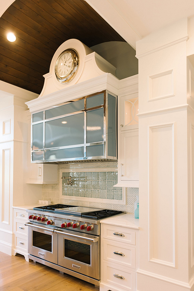 Kitchen Hood. Custom Kitchen Hood. Kitchen Hood with clock. Unique Kitchen Hood Ideas. #Kitchen #Hood #KitchenHood Four Chairs Furniture.