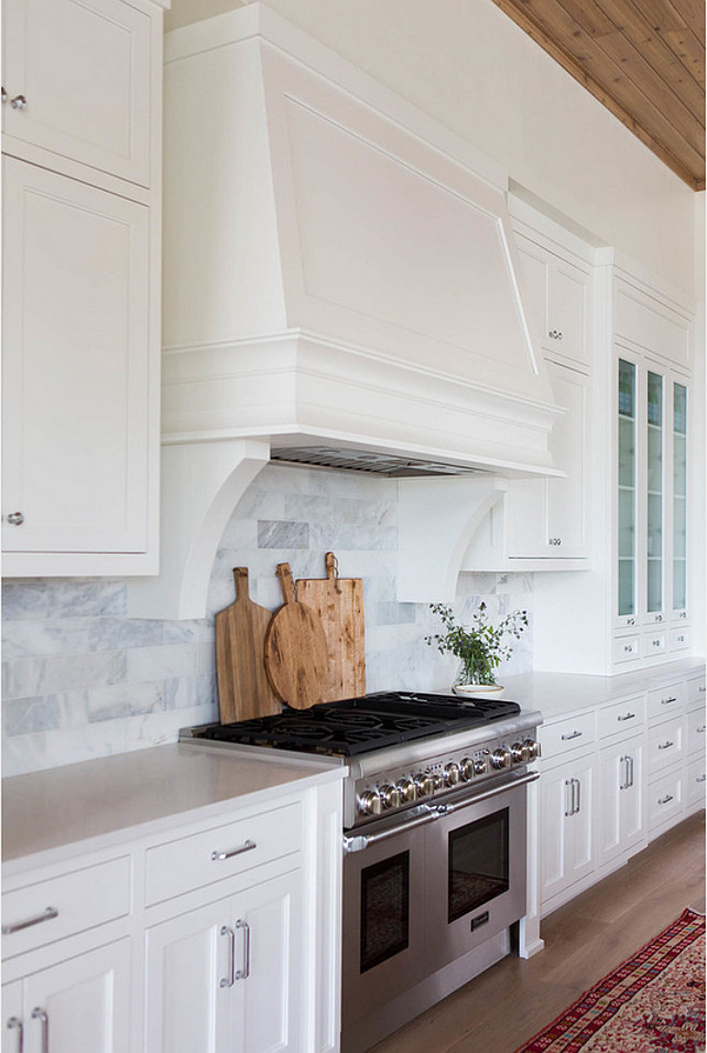 Kitchen Hood. Range Hood. White Hood. White kitchen with custom hood and white marble backsplash. #Hood #KItchen #KitchenHood #WhiteHood #WhiteKitchenHood #CustomHood #RangeHood