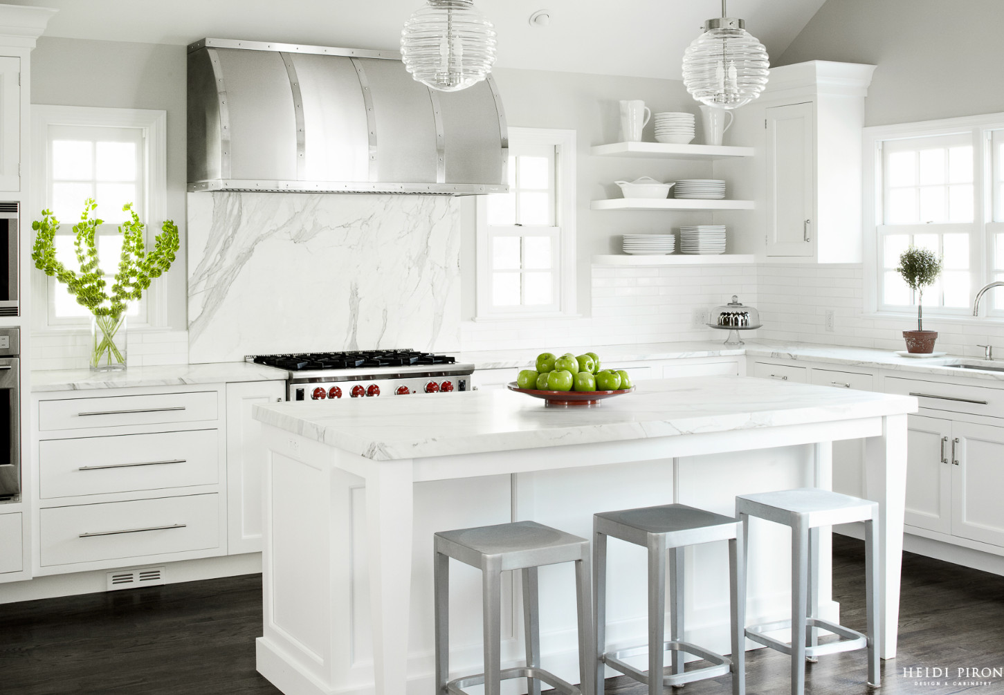 Kitchen Hood. White Kitchen hood. The custom-made brushed and polished range hood is the focal point of this kitchen. #Kitchen #Hood #KitchenHood Heidi Piron Design & Cabinetry.