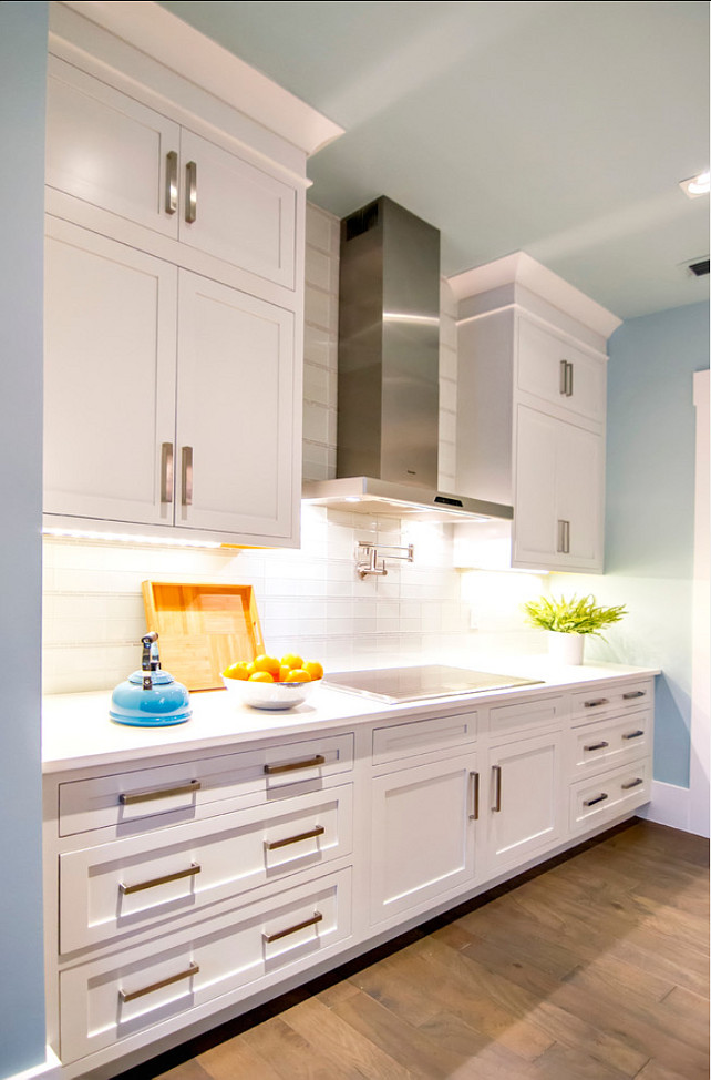 Kitchen-Ideas.-Kitchen-Design-Ideas.-KItchen-Cabinet-Paint-Coli-is-Sherwin-Williams-Pure-White-SW-7005.-Kitchen-KitchenCabinets One Piece Backsplash For Kitchen