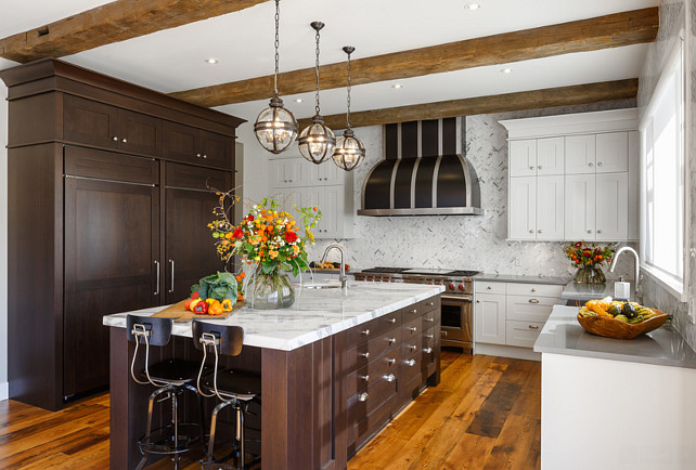 Kitchen Ideas. Rustic inspired kitchen with beamed ceiling. #Kitchen #RusticKitchen #CeilingBeams   Astro Design Center.